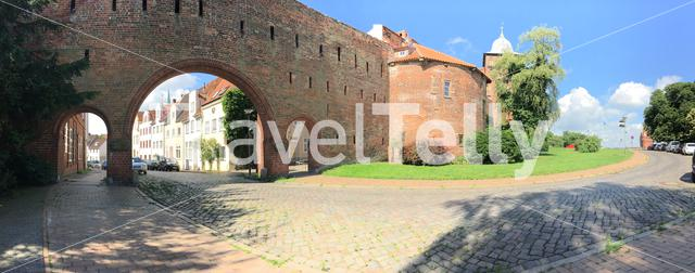 Panorama from one of the gates from the Burgtor in Lübeck Germany