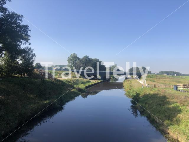 Road over a canal around Donkerbroek in Friesland The Netherlands