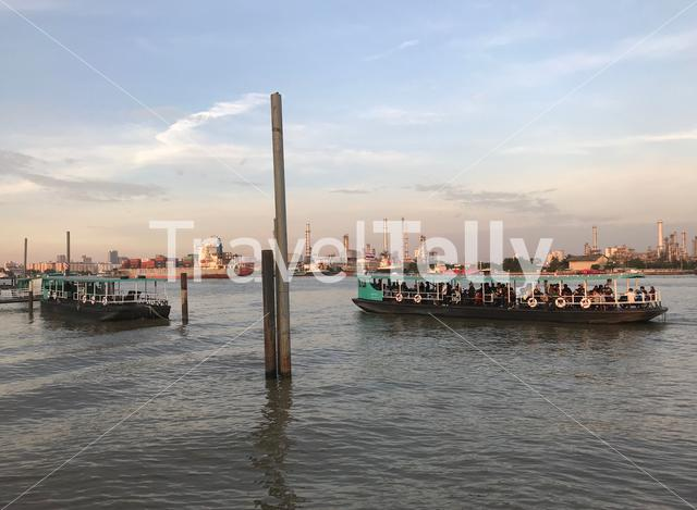 Ferry at the Chao Phraya River in Bangkok Thailand