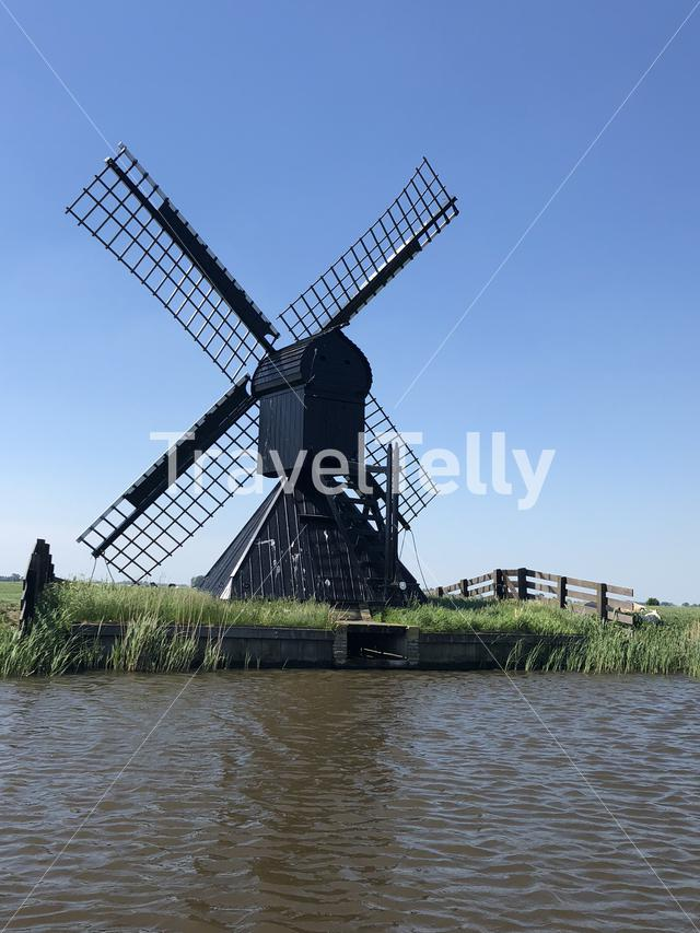 Windmill around Easterlittens in Friesland The Netherlands