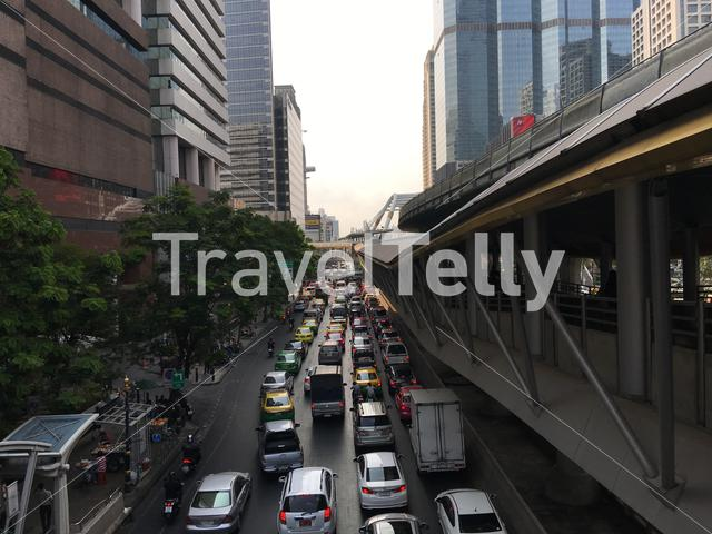 Traffic in the morning at Sathon district in central Bangkok, Thailand