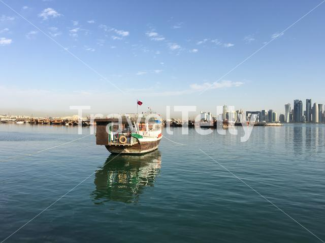 Dhow, Arab sailing vessel in the Dhow Harbour in Doha Qatar