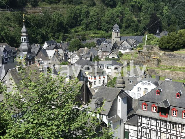 Aerial view from the town Monschau, Germany