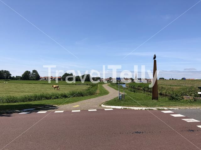 Cycling path towards Hindeloopen, Friesland The Netherlands