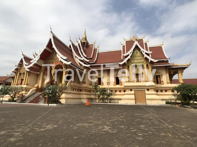 A buddhist Temple next to the Pha That Luang in Vientiane Laos