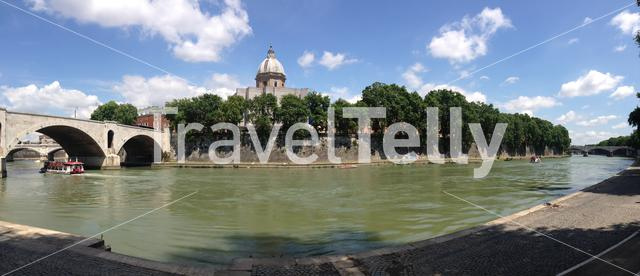 Panorama from the tiber river in Rome Italy
