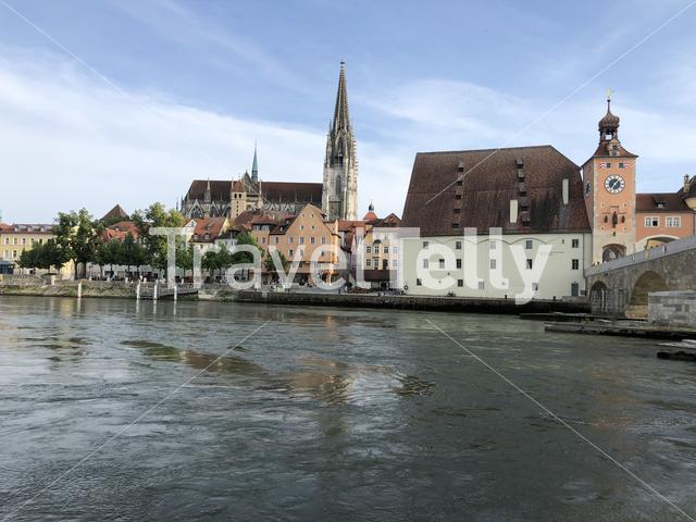 St Peter Cathedral and the stone bridge over the Danube river in Regensburg, Germany