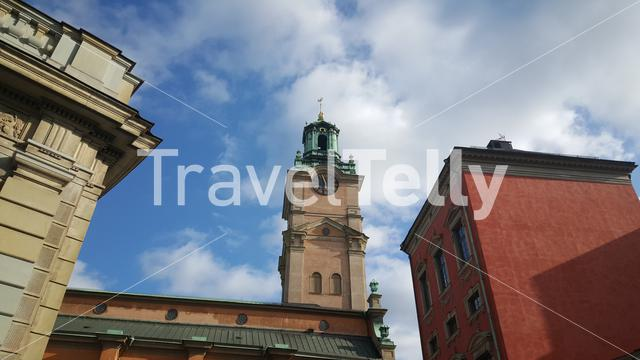 Storkyrkan (The Great Church) tower in Stockholm Sweden