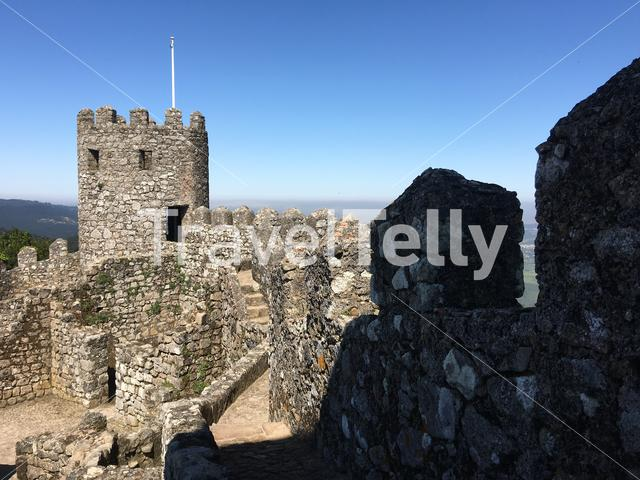 Tower and wall at the Castelo dos Mouros in Sintra Portugal