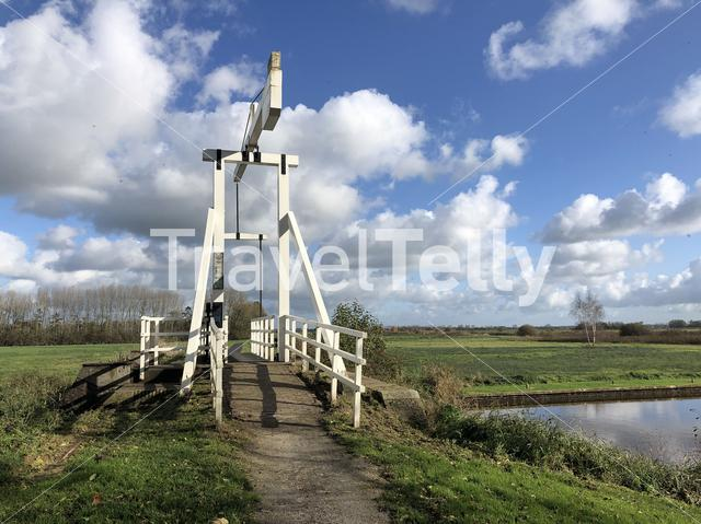 A bridge over a canal in a nature reserve around Wolvega in Friesland, The Netherlands