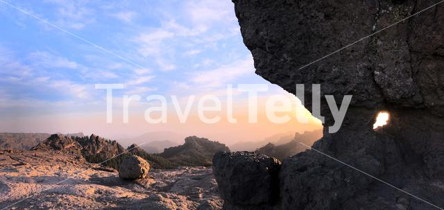 Sunset panorama at Roque Nublo the volcanic rock on the island of Gran Canaria