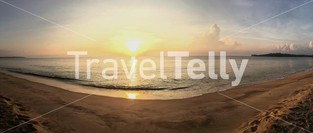 Panorama from the sunrise at the beach of Arugam Bay Sri Lanka