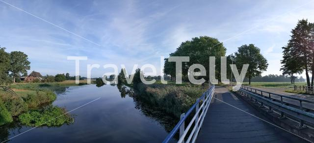 Panoramic view from a canal around Schuilenburg in Overijssel, The Netherlands
