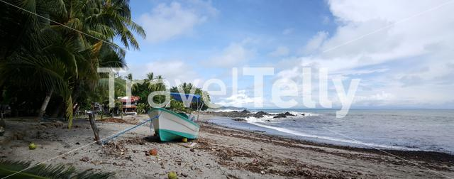 Panorama from a boat at the beach of Montezuma Costa Rica