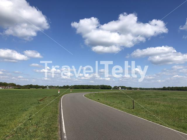 Flat road around Varssel in Gelderland, The Netherlands