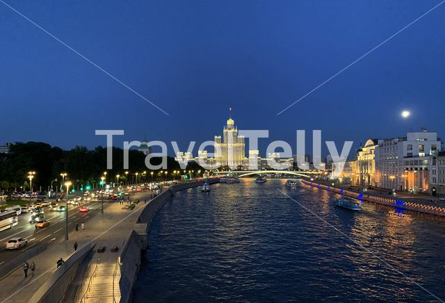 Moskva river at night in Moscow Russia