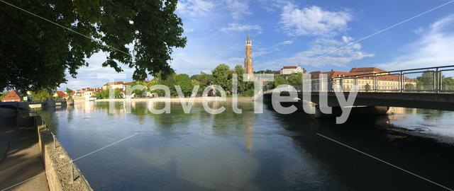 Panorama from the Isar river around Landshut Germany