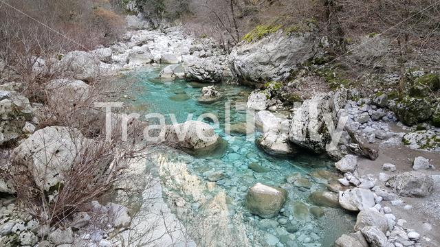 River in the Vikos Gorge in the Pindus Mountains of northern Greece