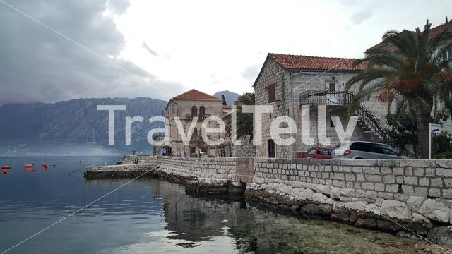Houses in the village Perast in Montenegro