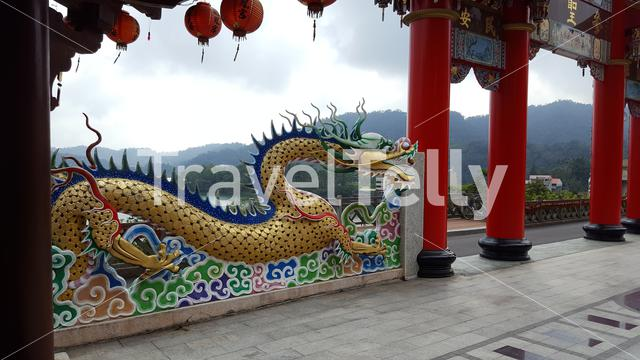 Colorful dragon sign at the Longfeng Temple at the Sun Moon Lake in Taiwan