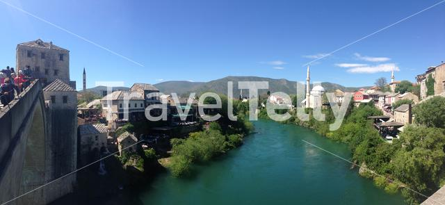 Panorama from the Stari Most (Old Bridge) over the Neretva in Bosnia & Herzegovina