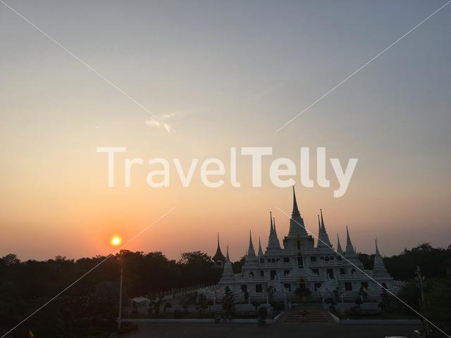 Sunset at Wat Asokaram in Samut Prakan Bangkok Thailand