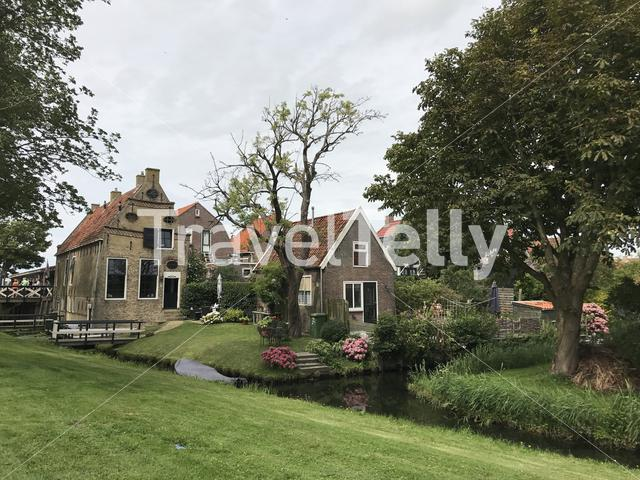 Old traditional house in Hindeloopen Friesland The Netherlands