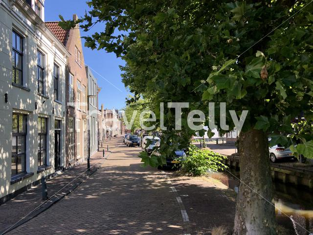 Houses next to a canal in Bolsward, The Netherlands