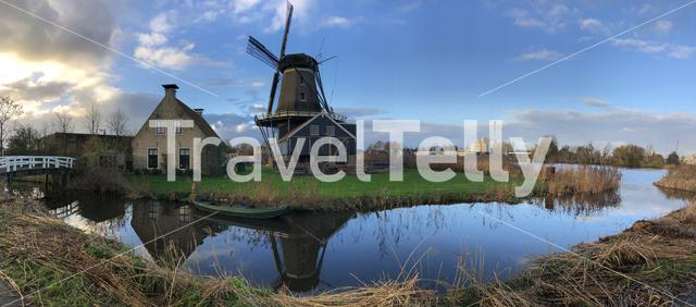 Panorama from the Windmill in IJlst during autumn Friesland The Netherlands
