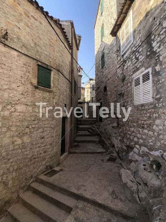 Alley in the old town of Sibenik, Croatia