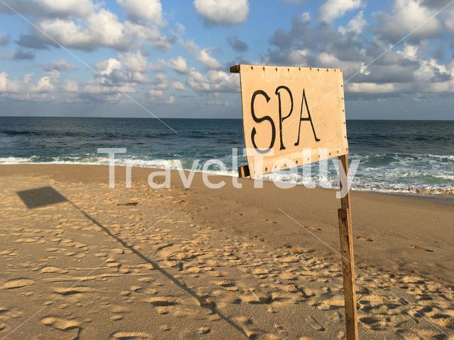 Spa sign at Tangalle beach in Sri Lanka