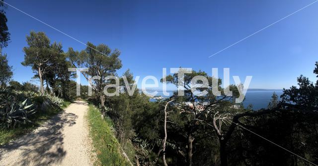Panorama from path through park marjan in Split Croatia