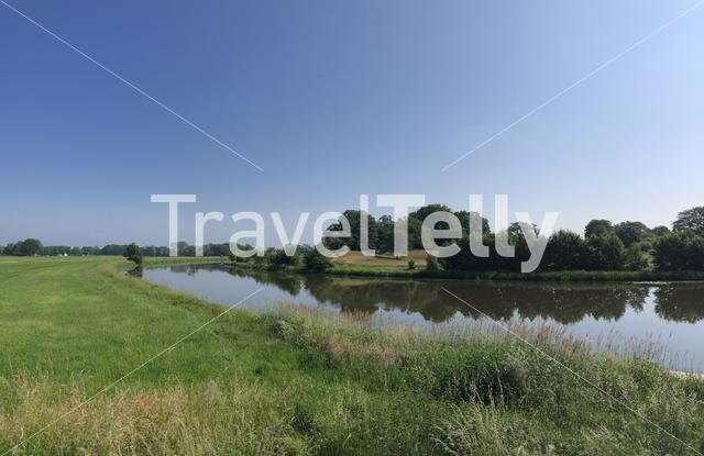 Panorama from the river Vecht in Overijssel, The Netherlands
