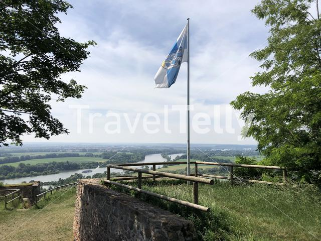 Flag at the Donaustauf Castle in Germany