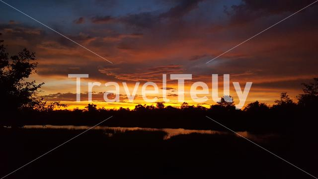 Sunset at Moremi Game Reserve in Botswana