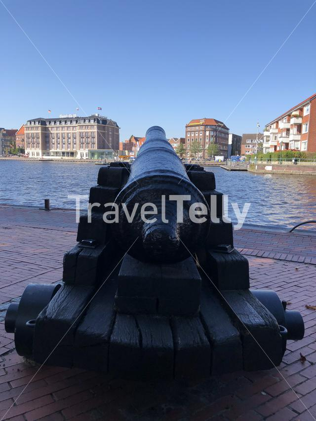 Cannon at the old inland port in Emden, Germany