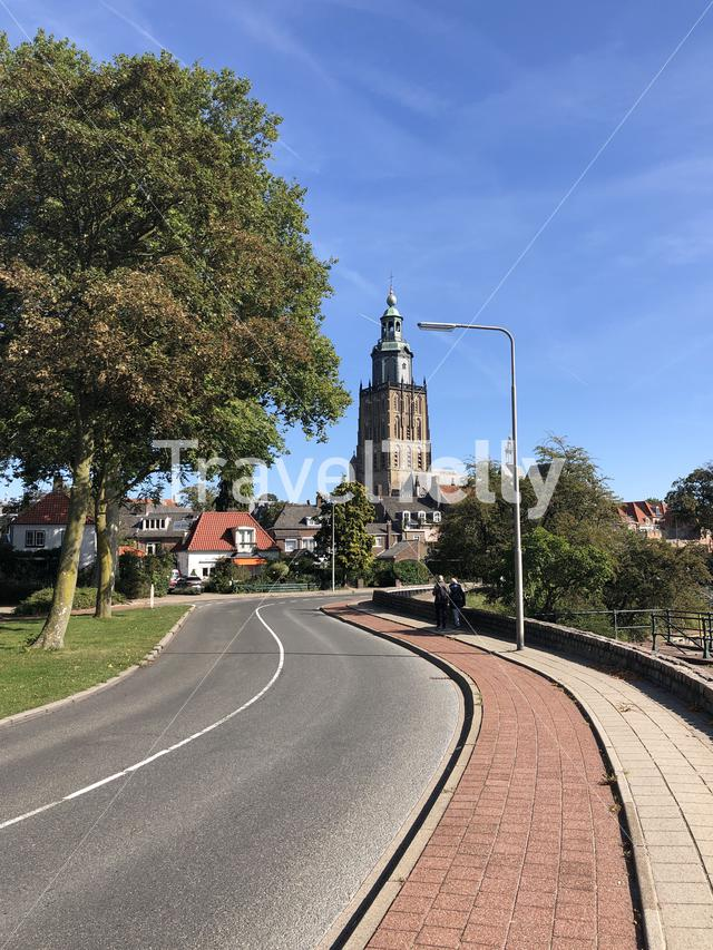 Tourists walking towards the St. Walburgis Church in Zutphen, Gelderland The Netherlands