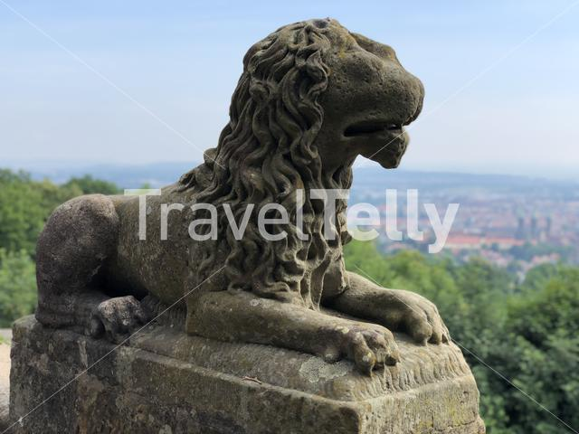 Lion statue at the Altenburg Castle in Bamberg Germany