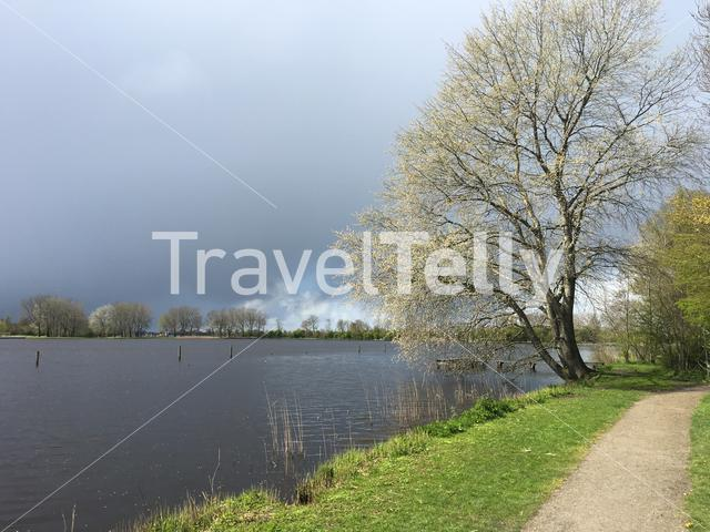 Dark clouds above the Potten in Friesland, The Netherlands