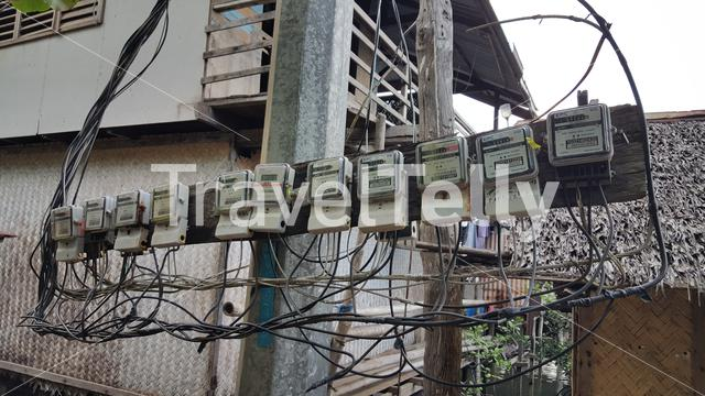 Electronic wiring on street in TayTay, Philippines