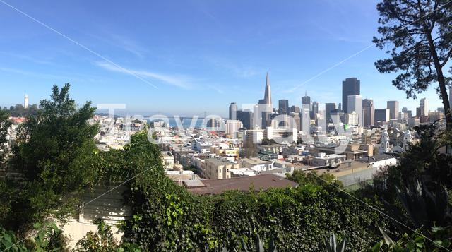 Russian Hill, Vallejo Street Steps Park San Francisco city skyline view
