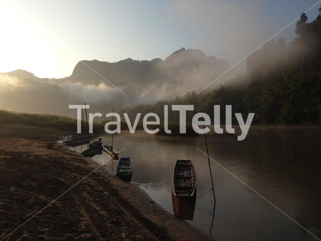 Boats at the nam ou river in Laos
