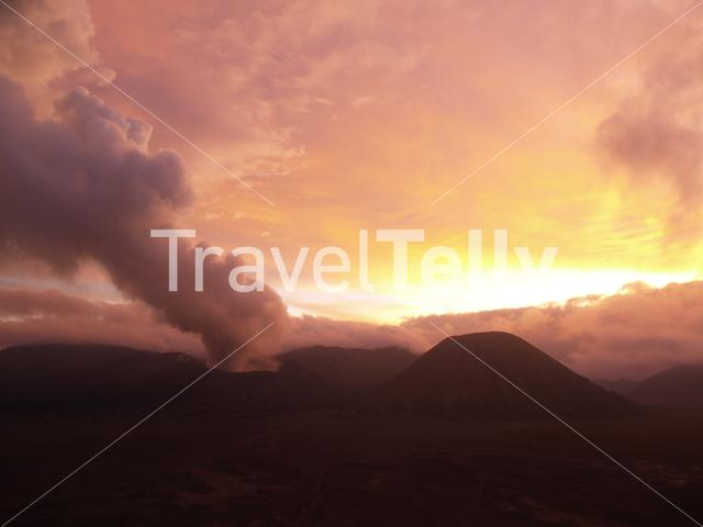 Volcano Bromo during sunset in Indonesia