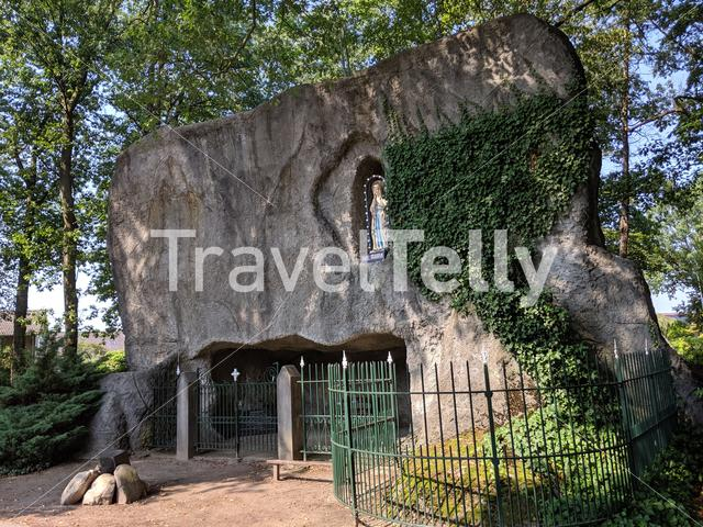 Lourdes cave with Maria statue in Luttenberg, Overijssel The Netherlands