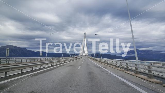 Driving over the Rio-Antirrio bridge that crosses the Gulf of Corinth linking the town of Rio to Antirrio in Greece