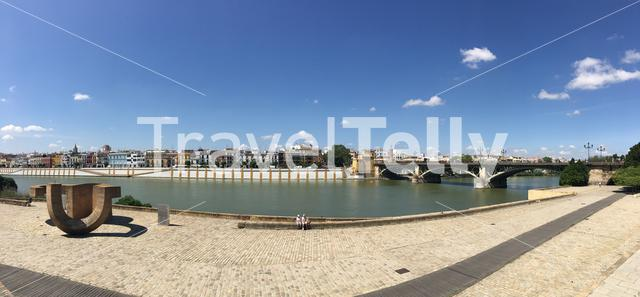 Panorama from the Puente de Isabel II Bridge over the Canal de Alfonso XIII in Seville Spain