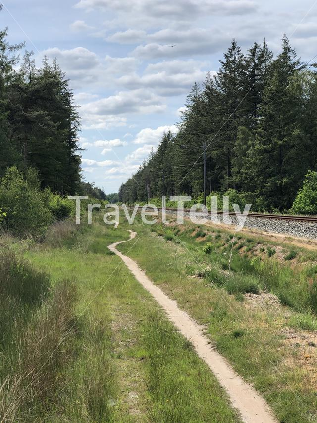 MTB route next to a train track around Ommen in Overijssel The Netherlands