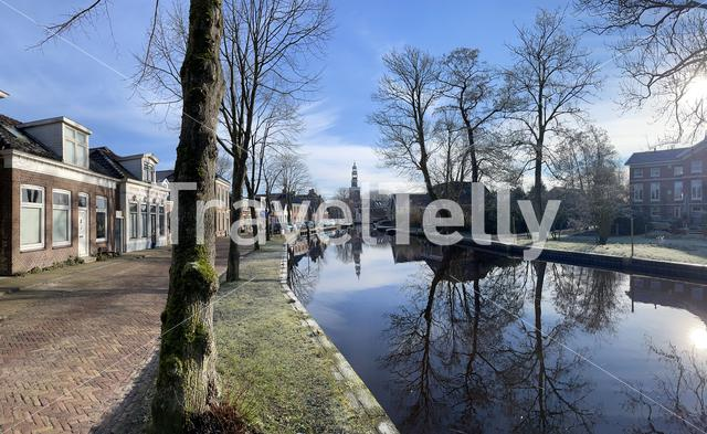 Panorama from Aldeboarn on a winter day in Friesland The Netherlands