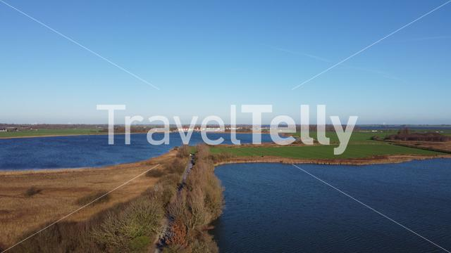 Bicycle path and lakes around Galamadammen in Friesland, The Netherlands