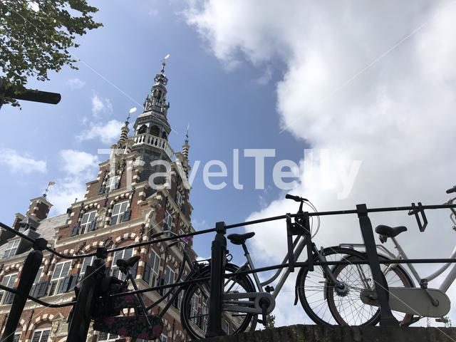 Bicycles on a bridge next to the city hall of Franeker, Friesland The Netherlands
